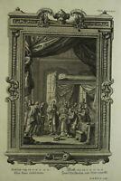 Grabado Siglo XVIII c1740 Miracle Jesús Joven Niña Resucitado J Andreas Fridrich