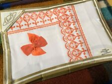 Vintage Pair of Embroidered Pillow Cases Pure White & Orange Cotton Bed Linen