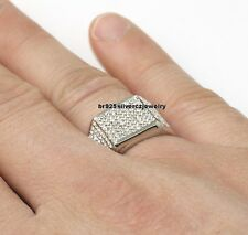 Mens Designer Diamond Pinky Wedding Ring 14K White Gold Over Round Cut 2.25 Ct