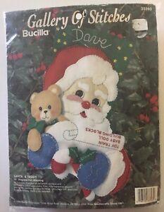 "Bucilla Gallery of Stitches Santa & Teddy Bear 15"" Felt Stocking Kit 33393 gift"