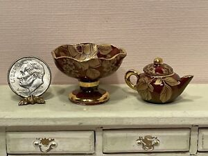 Vintage UK Artist RACHEL MUNDAY Tea Pot & Compote Bowl Dollhouse Miniature 1:12