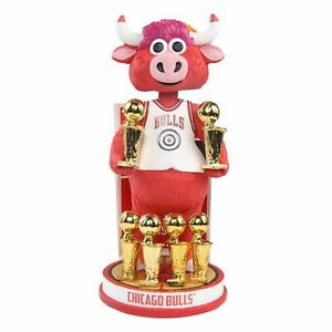 Benny the Bull Chicago Bulls Mascot 6-Time NBA Champions 6 Trophies Bobblehead