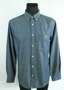 MUSTANG BNWT Navy Blue Collared Long Sleeve Slim Fit Button Up Men Shirt Size L