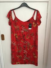 Brand New Tagged Size 16 Next Red Floral Oriental Style Top Dress Cap Sleeves