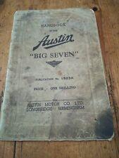 AUSTIN SEVEN BIG SEVEN HANDBOOK 1523A OCTOBER 1937. ORIGINAL FACTORY PUBLICATION