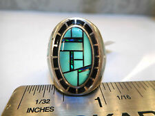 NWT Heavy $750 Mens Pinky ring Turquoise Firey Black Opal 8 Kingsman20 grams!