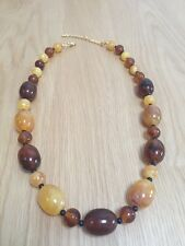 Fashion 2 tone plastic bead graduated necklace 22 inches
