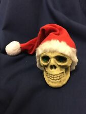 Realistic Small Skull With Santa Hat Goth Steampunk Bonelike Resin
