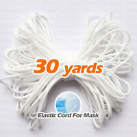 30yards 1/8inch White Round Elastic Band Cord Ear Hanging For Face Mask Sewing