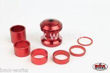 "BMX Headset & Spacer Kit 1 1/8"" Threadless Red Anodized Aluminium - BMX Works"