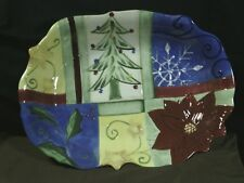 """Exquisite Corsica Hand Painted """"Holiday Quilt"""" 17""""Deep Oval Serving Platter"""