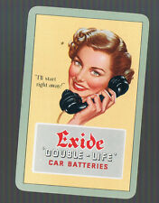 Playing Swap Cards  1 VINT EXIDE MOTOR BATTERIES LADY ON TELEPHONE ADVT  K104A