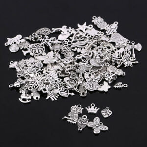 Wholesale 100Pcs Bulk Mixed Silver Charms Pendants for DIY Jewelry Making Decor