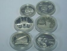 (6) Us Mint Commemorative 90% Silver Coins Proof/Uncirculated Capsules 1982-'93