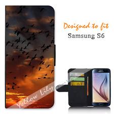 Samsung Galaxy S6 Wallet Flip Phone Case Cover Flamingos Sunset Y00858