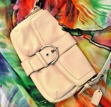COACH Soho Shoulder Bag in Off White 100% Leather with Silver Buckle Accents