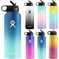 Gradient Space Cup Stainless Steel Insulated Mouth Lid Straw Drink Water Bottles