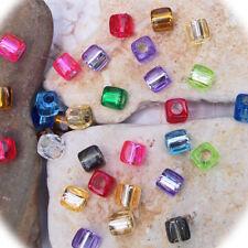 30 Resinperlen bunt gestreifte Quadrate Perlen basteln 10  x 10 mm Loch 2 mm