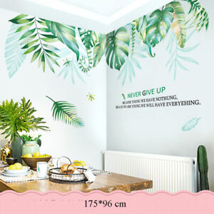 Flamingo flower & Leaves Wall Stickers Removable Decals Wallpaper for Home Decor