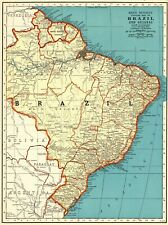 1939 Antique Map of Brazil South America Map of Guianas Gallery Wall Art #7611