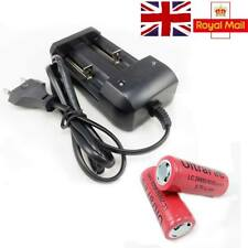 2x 26650 3.7V 6000mAh Rechargeable Li-ion Battery w/ Charger Adapter UK