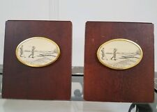Vtg. Pair Of Barstow Scrimshaw Wood Bookends W/Golf Depiction