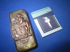 C. 1880 FRENCH BRASS & COPPER CHERUB MATCH HOLDER VESTA CASE MATCH SAFE STRIKER