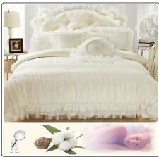 6pc. Queen Beige or Red Lace Ruffles Cotton Princess Duvet Cover Bedding Set