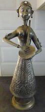 More details for vintage asian indian ? silver coloured metal female lady dancer drum player 40cm