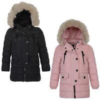 Girls Long Cotton Down Quilted Winter Jacket Kids Detach Trim Zip Coat 3-14 Year