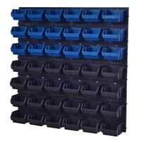46 teiliges SET Lagersichtboxenwand Stapelboxen mit Montagewand Werkzeugwand