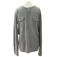 Reiss Jumper Large Grey Cashmere Blend Half Button Chest Pockets Brand New Tags