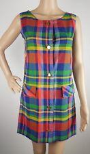 VINTAGE 90s Dress Size 6-8 XS Check Plaid Print Sleeveless Mini Original Womens