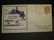 USS SAPPHIRE PYc-2 Naval Cover 1941 COMMISSIONED Cachet