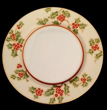 """Fitz And Floyd Japan Christmas Holly 7 1/2"""" Salad Plate Gold Berries Cream White"""
