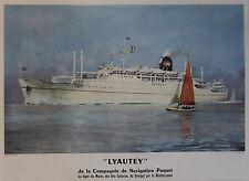 """""""Cie de NAVIGATION PAQUET / LYAUTEY"""" Affiche originale entoilée (Roger CHAPELET)"""