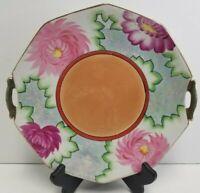 Nagoya Trico Lusterware Hand Painted Floral Handled Trinket Dish Bowl Plate