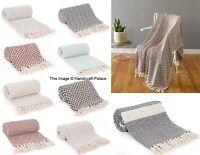 Indian 100% Cotton Woven Lounge Sofa Throw Blanket Rug 125 x 150 Arm Chair Throw