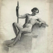 Large Academic Drawing, Nude Male, Jansson / Royal Theather, 19th century