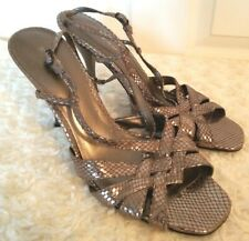 Michael Womens Size 11M Metallic Pewter Snake Skin Leather Strappy Sandals Heels