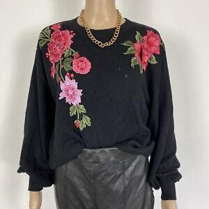 Topshop Boutique Black Fine Knit Jumper Pink Embroidered Flowers Size 8