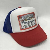 Budweiser King Of Beers Trucker Hat Vintage 80's Mesh Back Snapback Cap! RWB
