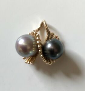 tahitian genuine pearls black & grey (no chain) mounted in 14ct gold
