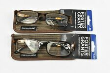 (2) Foster Grants Mens Reading Glasses  (MULTIPLE STRENGTHS)  New with Cases