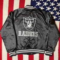 Vintage 1995 Oakland Raiders Locker Line Bomber Black Jacket NFL 18-20 Small