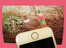 NEW Starbucks Coffee Pink Frappuccino Anti-Dust Plug Cap iPhone, Android, Ipod