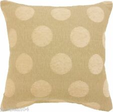 "CLASSIC CREAM BEIGE SPOT DOT CIRCLE CHENILLE 18"" THICK CUSHION COVER STOPS"