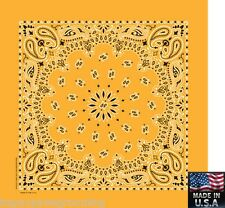 "GOLD PAISLEY Bandana Head Wrap Scarve Scarf BANDANNA 22"" Cotton HANKY *USA MADE"