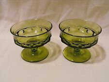 Two  (2) Indiana Glass Kings Crown Thumbprint  Green Footed Sherbets