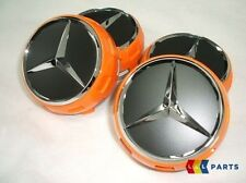 NUOVO Originale Mercedes MB AMG 75 mm Arancione surround centrale Ruota HUB Tappo Set 4PCS